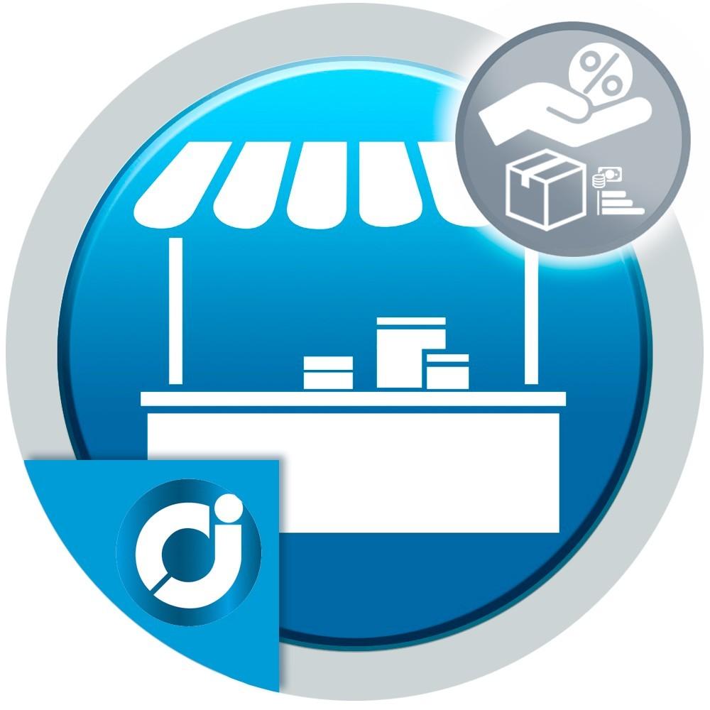JA Marketplace Comisiones del vendedor por rango de precios del producto: Establece el porcentaje de comisión.