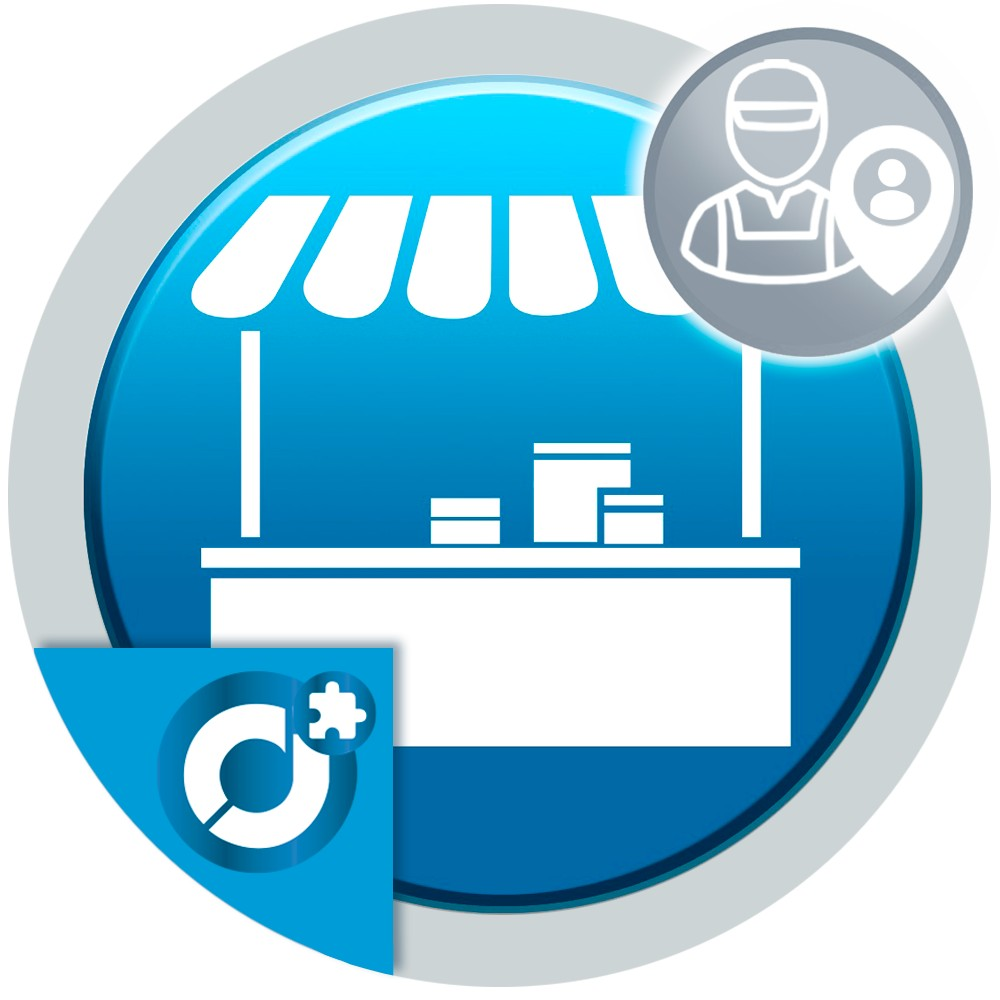Allows sellers to register as shop contacts to appear positioned on the page or stores map of the marketplace.