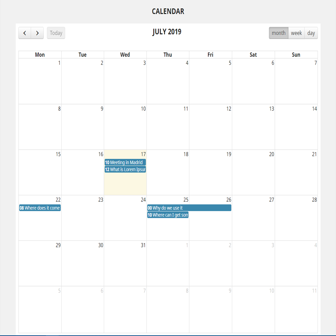 Event calendar for your PrestaShop